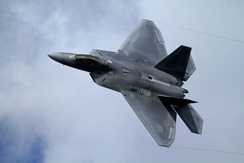 Fighter plane in flight