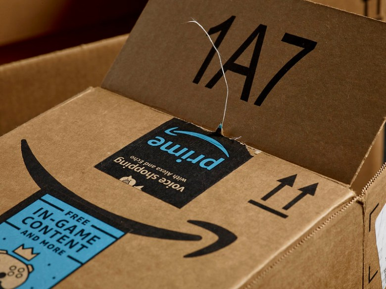 Box from Amazon with branding