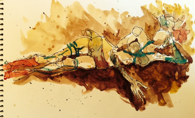 Walnut ink |archival pen| watercolor, Los Angeles model Xine, figure studies Leigh Ann Pfeiffer | Schema[Flows] | 2014