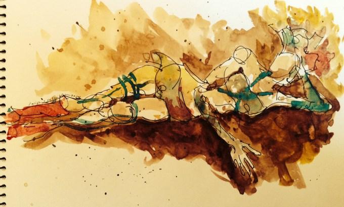 Walnut ink |archival pen| watercolor, Los Angeles model Xine, figure studies Leigh Ann Pfeiffer | Schema[Flows] | 2014
