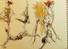 Walnut ink  archival pen  watercolor, Los Angeles model Xine, figure drawing 1 minute poses studies