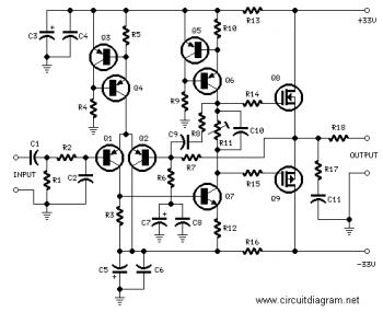 24W HiFi Audio Amplifier with MOSFET circuit diagram