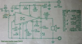 7W Audio Amplifier circuit diagram