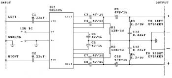 2 x 3W Stereo Audio Amplifier with IC BA5406 circuit diagram