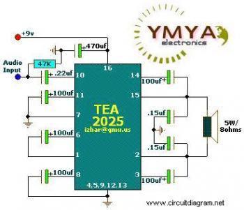 Mono Portable Audio Amplifier circuit diagram