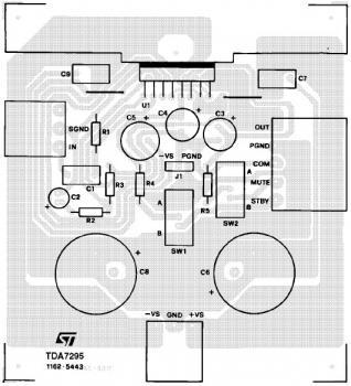 80W Audio Amplifier Based on TDA7295 PCB design
