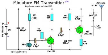 9V Mini FM Transmitter circuit diagram