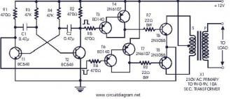 Power Inverter 60W 12V DC to 230V AC Using 2N3055 circuit diagram
