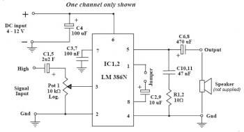 1W Stereo Audio Amplifier with LM386N