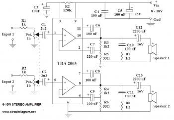 6-10W Stereo Audio Amplifier with IC TDA2005 circuit