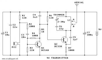 9V FM Radio Transmitter circuit diagram