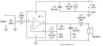 6-10W Audio Amplifier with IC TDA2002 circuit diagram