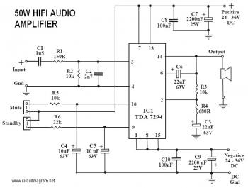 50W Power Amplifier with IC TDA7294 circuit diagram