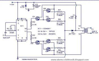 Power Inverter 100W, 12V DC to 220V AC - Schematic Design on