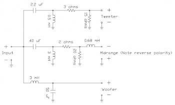 Loudspeaker System Crossover Network circuit diagram