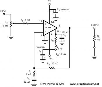 68W Power Amplifier with LM3886 circuit diagram