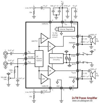 2x7W Audio Amplifier with LM4756 circuit diagram