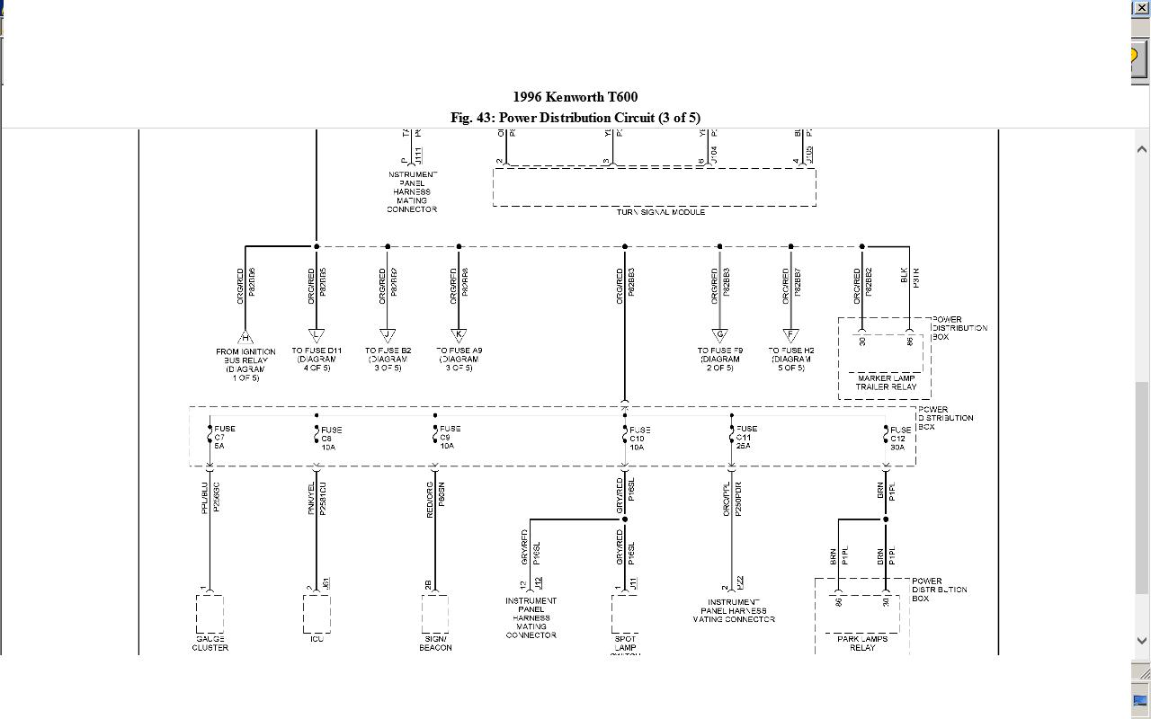 Kenworth T600 Fuse Panel Diagram