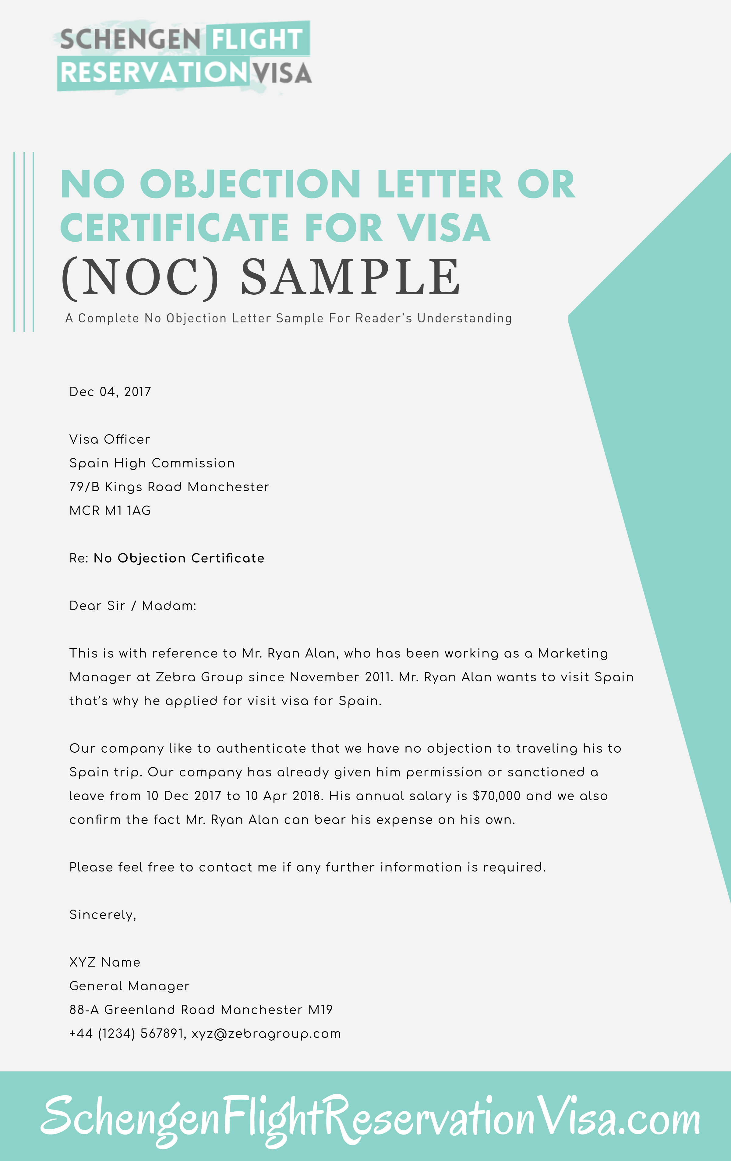 No Objection Letter OR Certificate Sample
