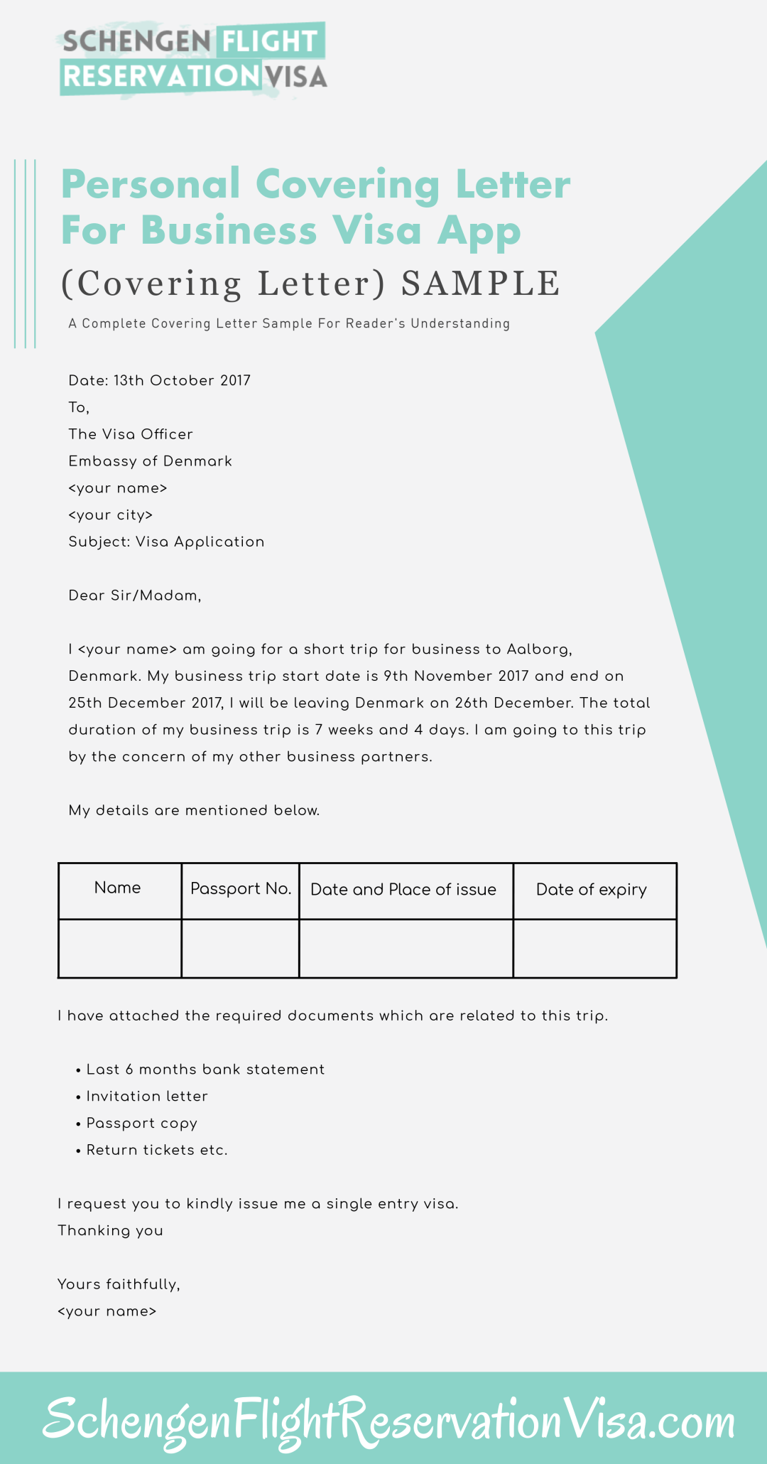 personal covering letter for business visa application