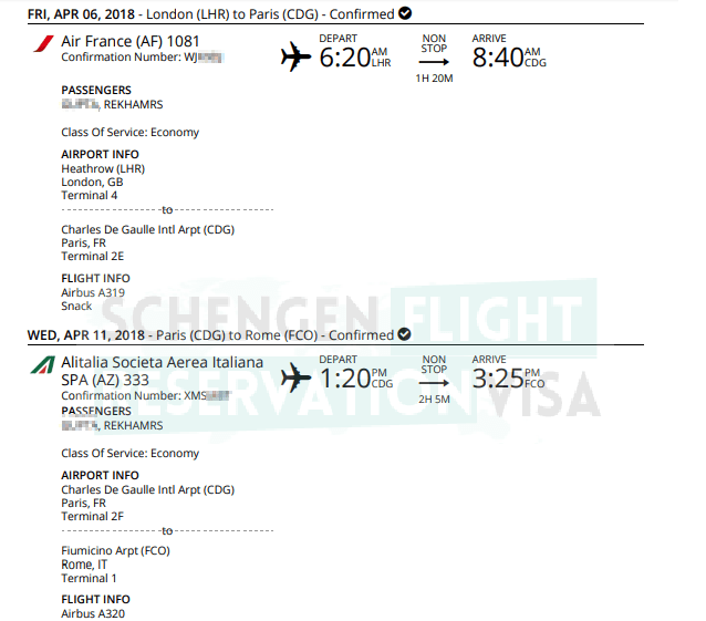 How to get flight reservation or flight itinerary for visa application air france flight reservation sample for visa application altavistaventures Images