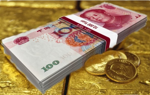 A bundle of Chinese one hundred Yuan banknotes.