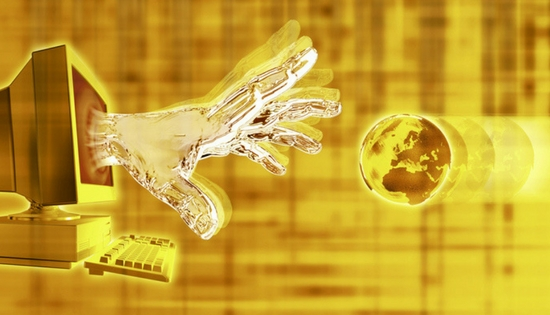 gold hand coming out of a computer