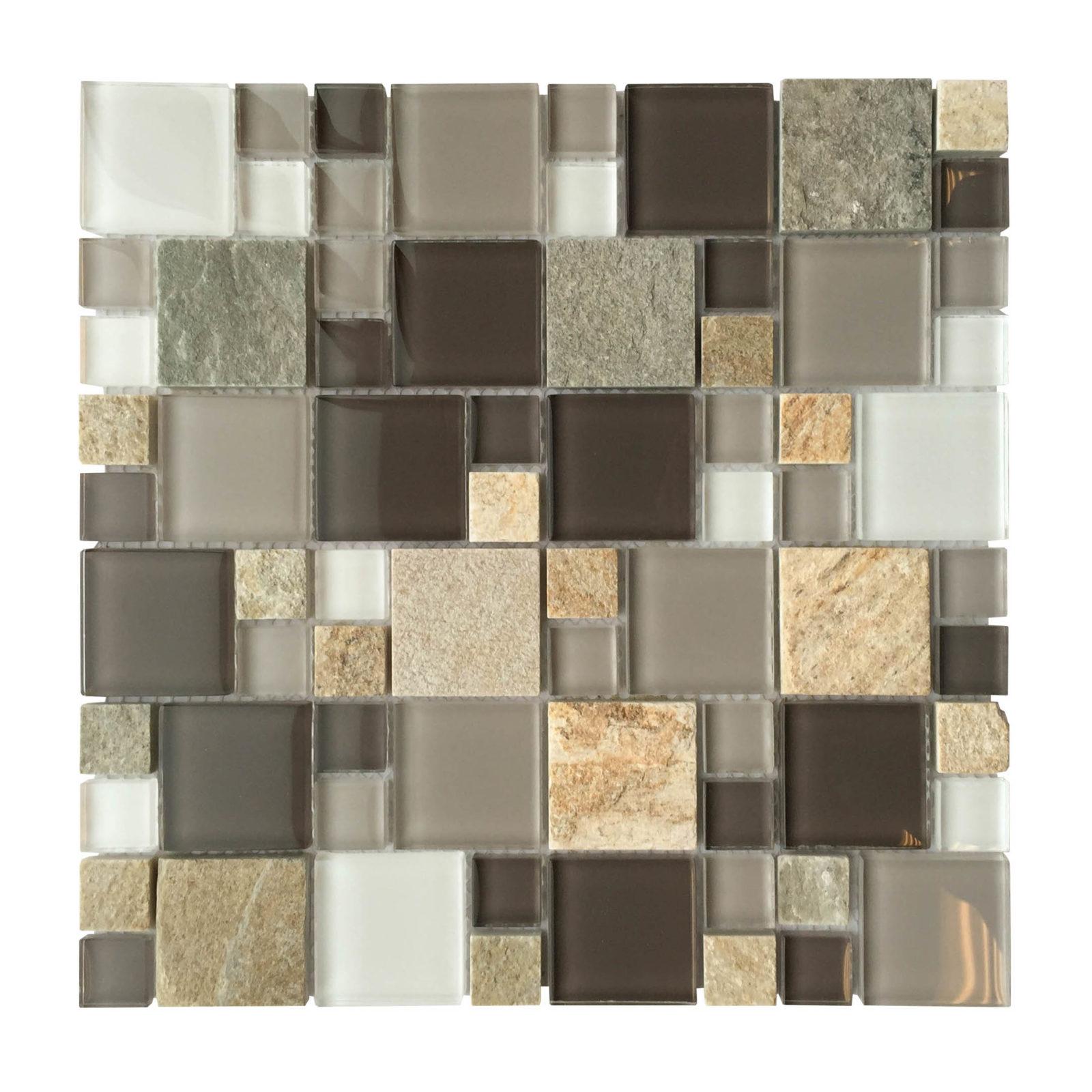 al1304 grey glass slate mixed modular 12 x 12 mosaic
