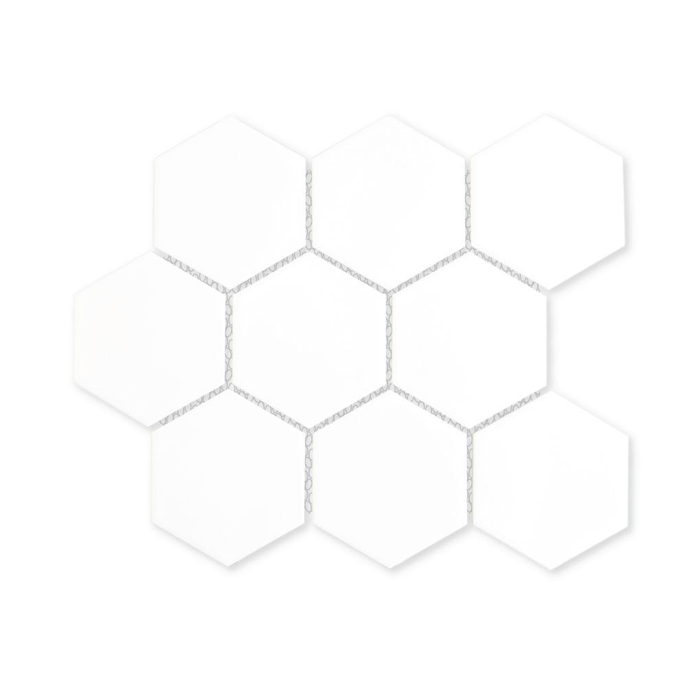 white 4 hexagon porcelain mosaic tile