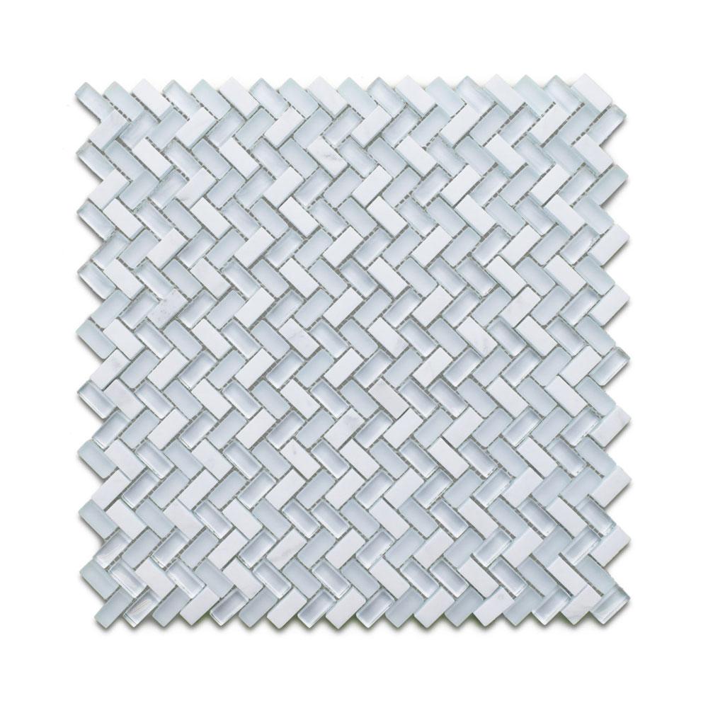 herringbone carrara white mosaic tile