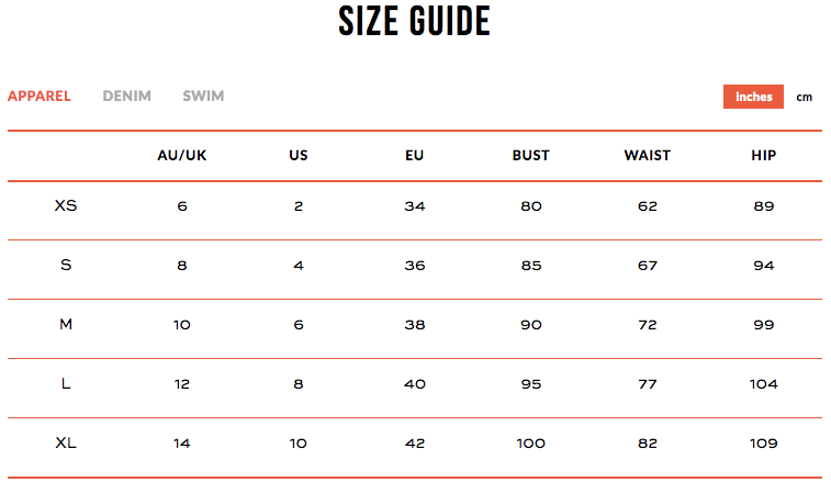 p.e nation size guide