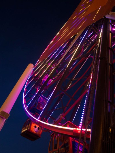 The ferris wheel lit in color