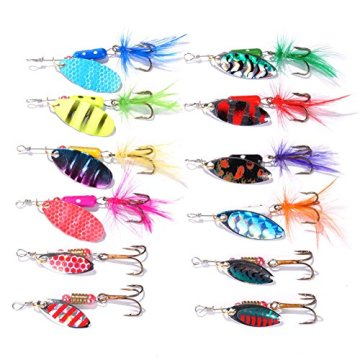 Dr.Fish Angeln Köder Job viel 60 Forelle Barsch Spinners Hecht Löffel weiche Kunststoff Köder Shad Crankbaits in 5 Fishing Tackle Boxen -