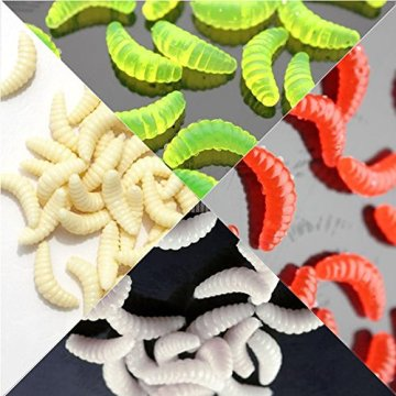 Lixada 100Pcs 2cm 0,5 g Angeln Köder künstliche weichen Köder lockt lebensechte Simulation Wurm Maden Grub Form Köder Fischgeruch -