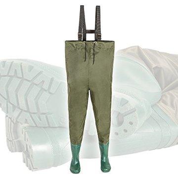 TecTake Wathose Anglerhose mit fest angebrachten Gummistiefeln -diverse Größen- (43) -