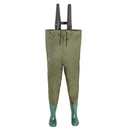 TecTake® Wathose Anglerhose mit fest angebrachten Gummistiefeln Größe 46 -