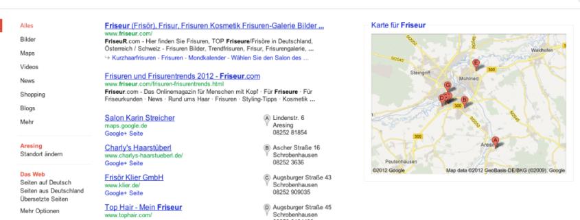Friseur Suche Google