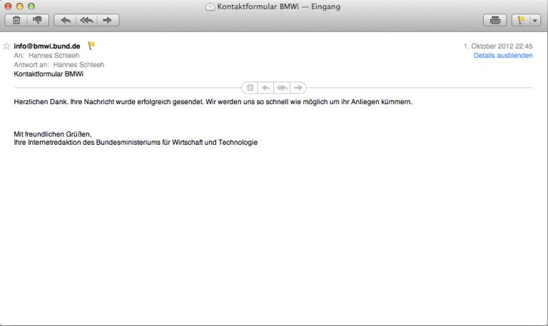 Kontakt zum BMWi am 01.10.2012