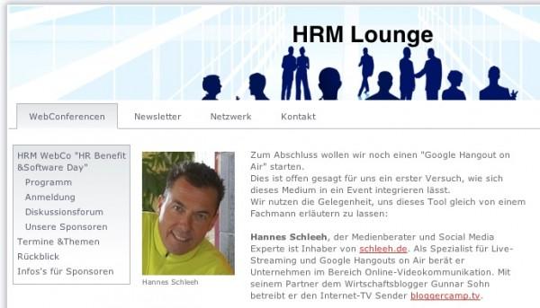 Hannes Schleeh zu Hangout in der HRM-Lounge