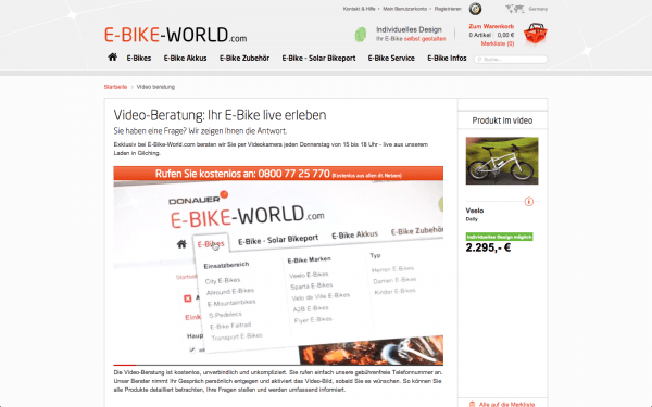 E-Bike-World Video-Beratung Screenshot Webseite