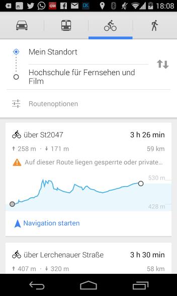 Fahrrad Navigation mit Google Maps