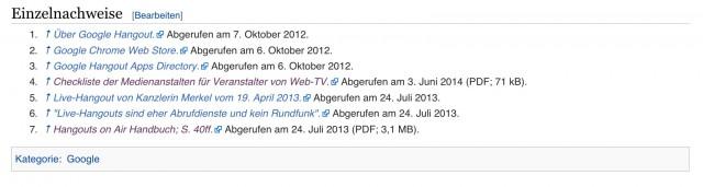 Einzelnachweise  Hangout auf Wikipedia