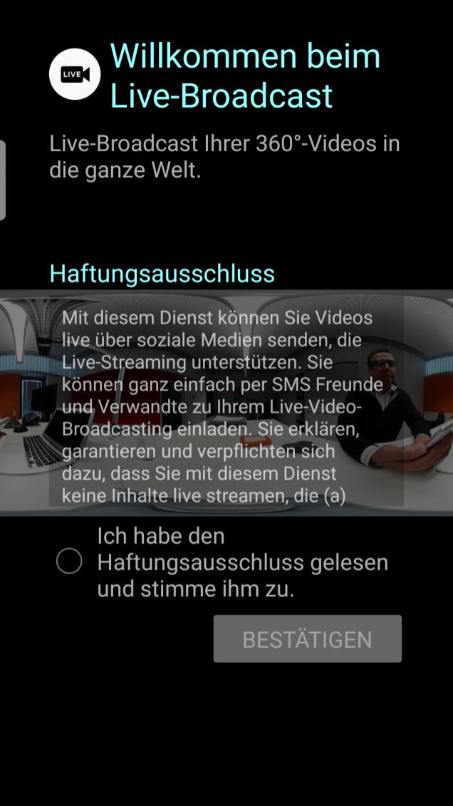 Screenshot Anmeldung YouTube Live Android