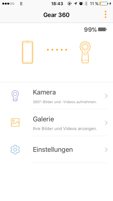 Gear 360 Software unter iOS