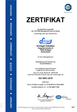 TUEV-9001 Zertifikat Schlegel Etiketten