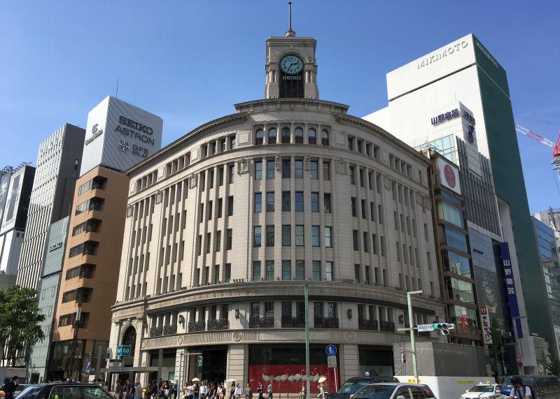 ginza clocktower in tokyo