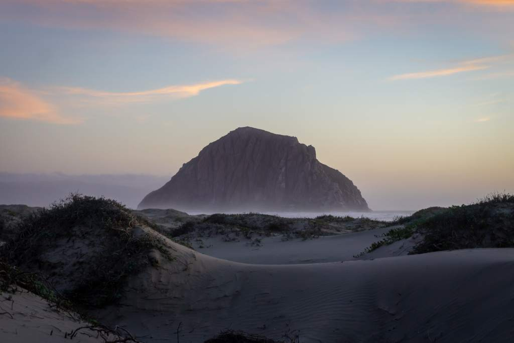 Morro Rock with Sand Dunes