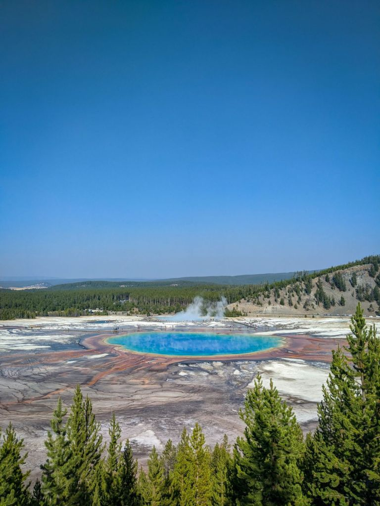 Grand Prismatic Spring Yellowstone the most beautiful place in wyoming