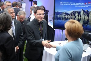 Shaking hands with the German chancellor Dr. Angela Merkel. Not the best picture, but definitively a highlight so far for me. At Dalhousie University, Halifax. Credit: Debra Christiansen-Stowe