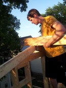 Zac placing the ridge beam...